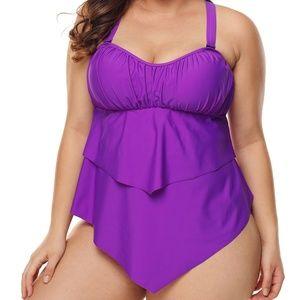 Other - Purple Pleated Swimwear
